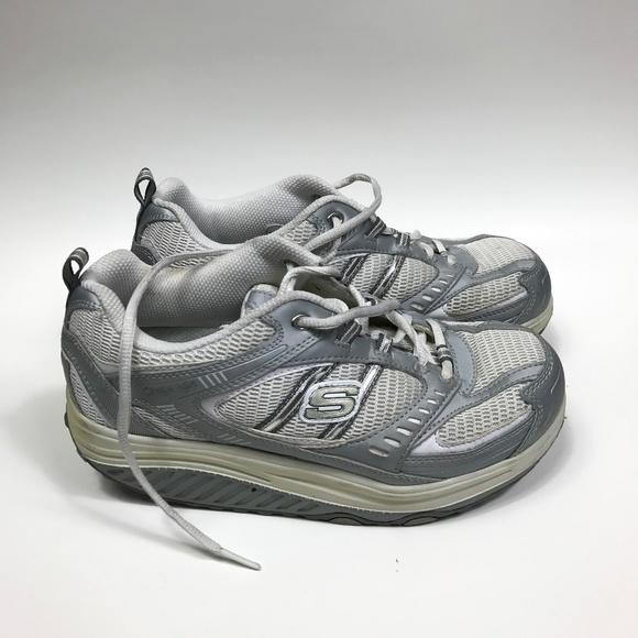 Womens 7 Skechers Shape Ups Silver Walking Shoes